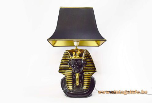 Tutankhamun Table Lamp black & gilded porcelain pagoda black & gold lampshade 1970s 1980s pharaoh Hollywood Regency