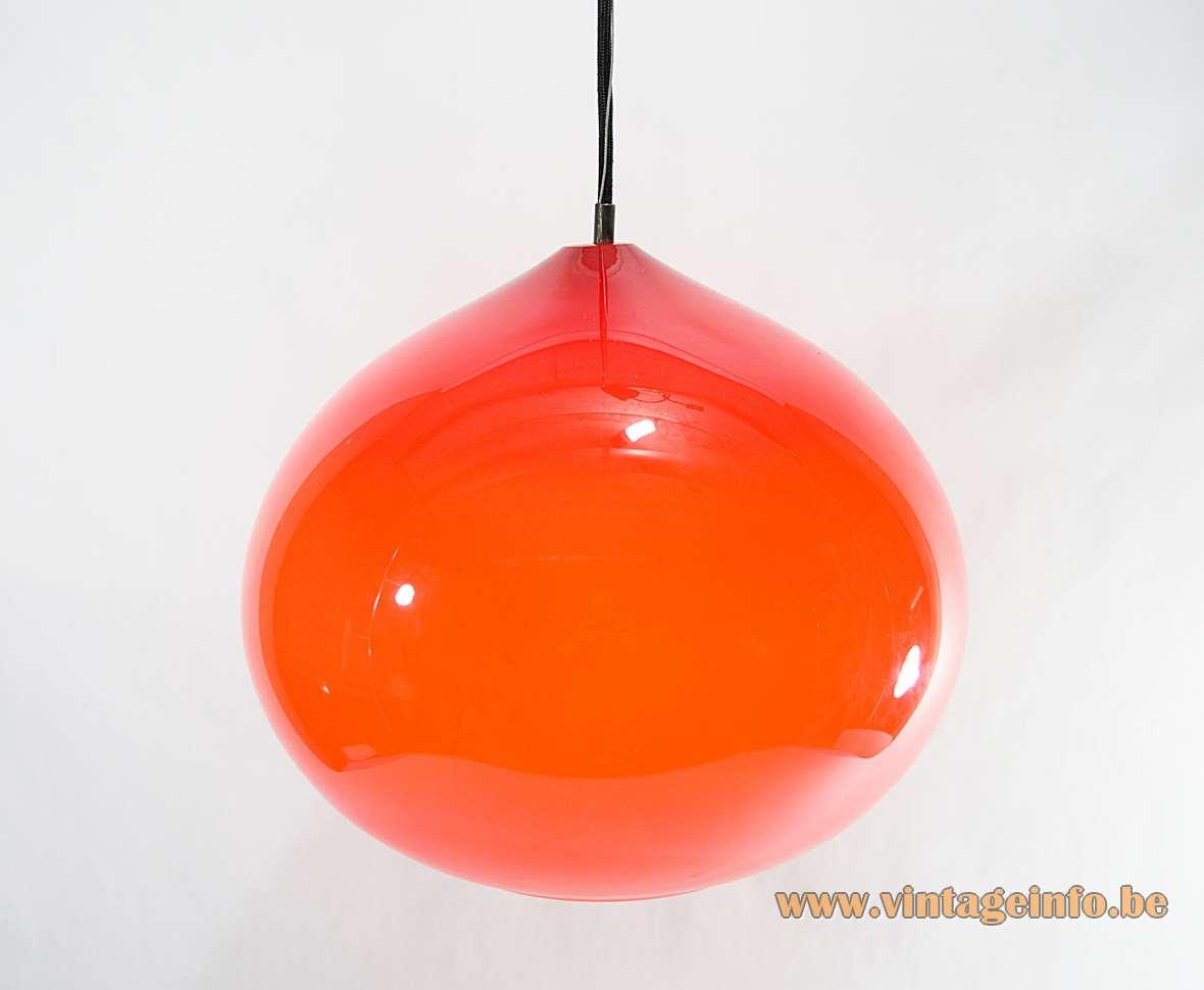 Vistosi pendant lamp Onion design: Alessandro Pianon 1960s red glass globe Murano Italy Mid-Century Modern MCM 1970s