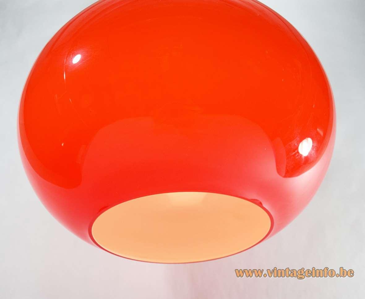 Vistosi Onion pendant lamp red Murano glass tulip bulb globe lampshade design: Alessandro Pianon 1950s 1960s