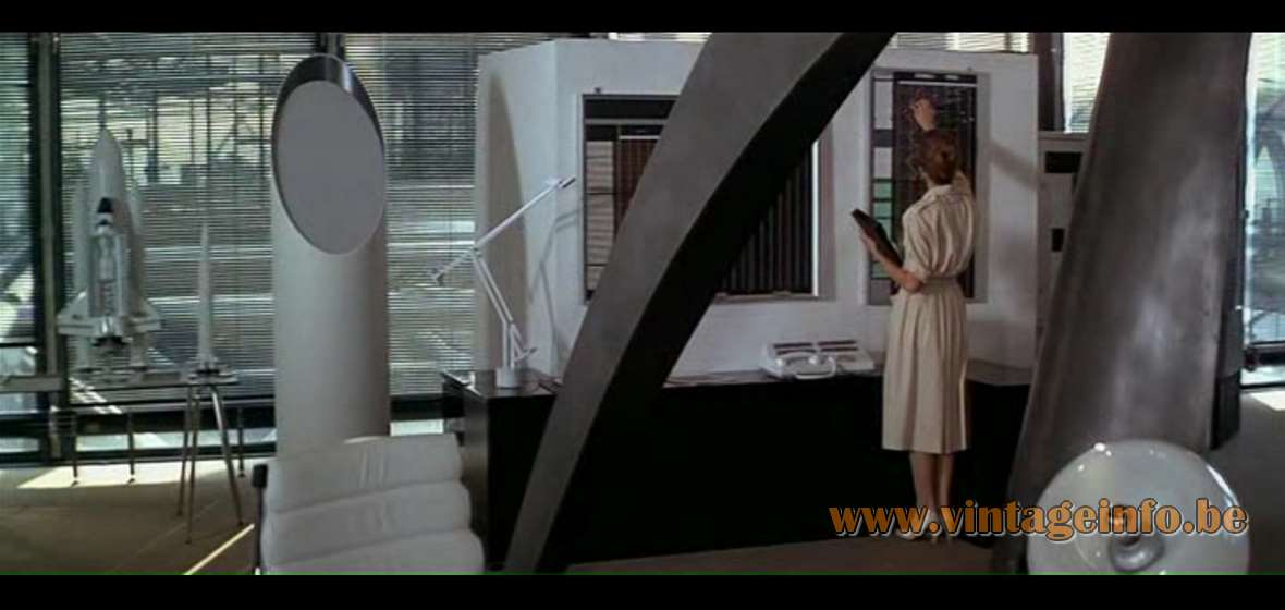 Artemide Tizio 50 Desk Lamp used as a prop in James Bond film Moonraker from 1979. Lamps in the movies