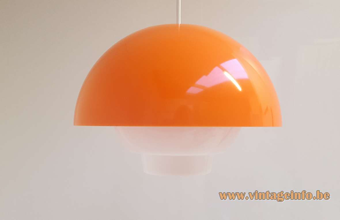 Bent Karlby Ergo Pendant Lamp white & orange acrylic mushroom production: ASK Belysninger (ASK Lighting) 1970s plastic