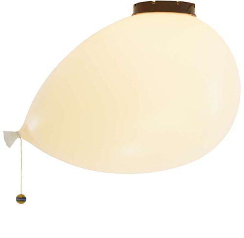 Bilumen Ballon ceiling lamp design: Yves Christin flush mount & wall lamp white plastic balloon lampshade 1980s