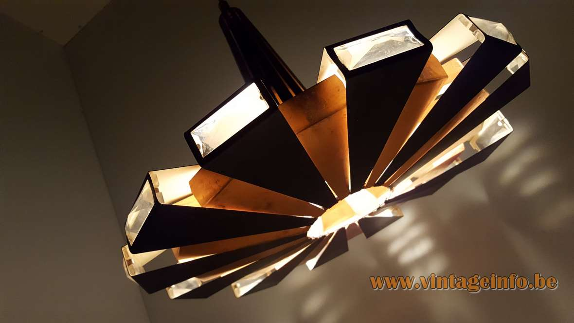 Coronell Elektro Pendant Lamp design: Werner Schou UFO light made of copper, glass, black metal 1960s