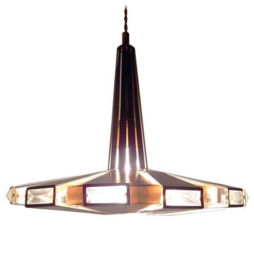 Coronell Elektro pendant lamp design: Werner Schou UFO light copper & glass black metal 1960s MCM Mid-Century Modern