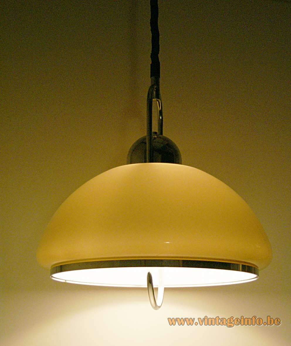 Dijkstra Brown Acrylic Pendant Lamp 1970s round lampshade chrome rise & fall Rolly mechanism The Netherlands MCM