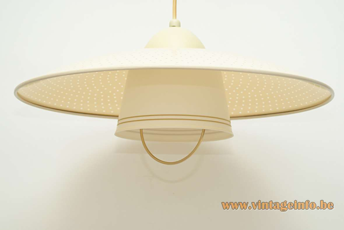 "ERCO Rise & Fall Pendant Lamp round ""perforated"" spots lampshade plastic 1950s 1960s MCM Germany"
