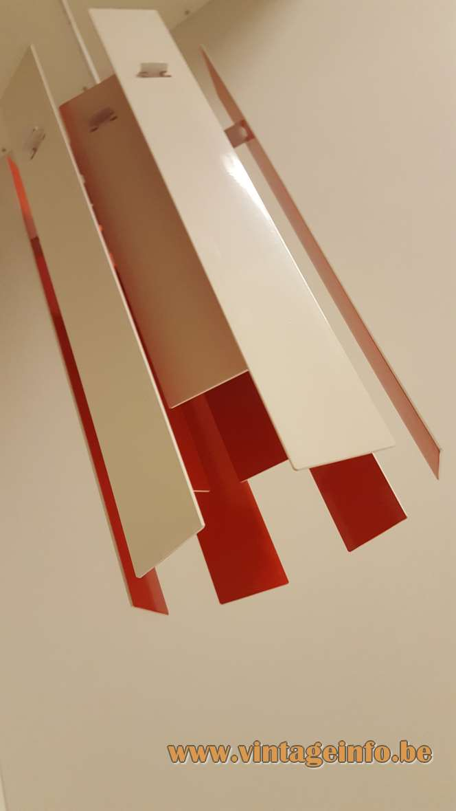 Fog & Morup Cocktail Pendant Lamp Red white metal slats/strips design: Henning Rehhof 1970s MCM