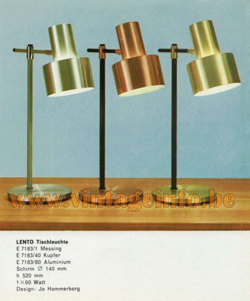 Fog & Morup Lento Desk Lamps - Catalogue picture