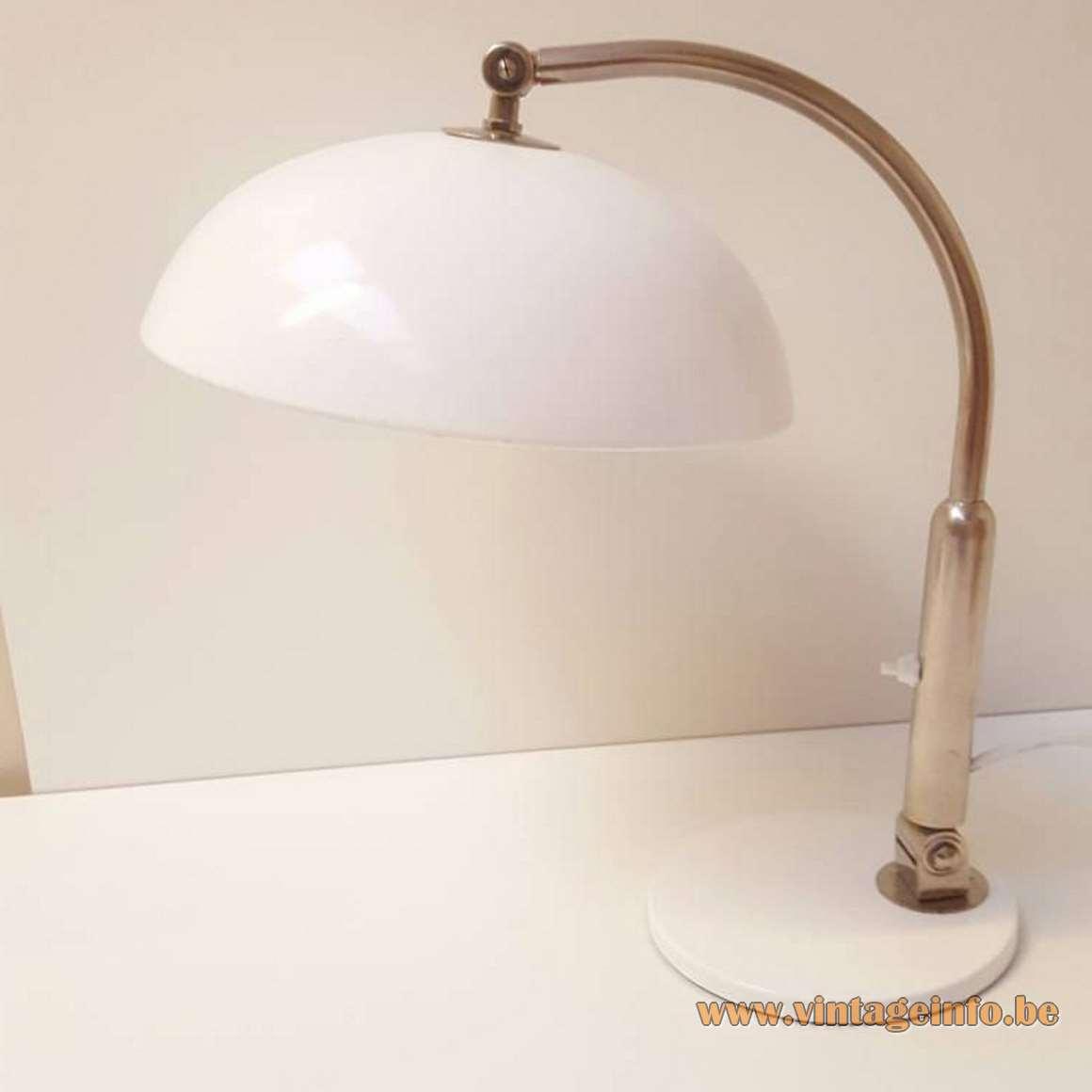 Hala 144 Desk Lamp design Herman Busquet round metal base mushroom lampshade chrome rod 1970s model