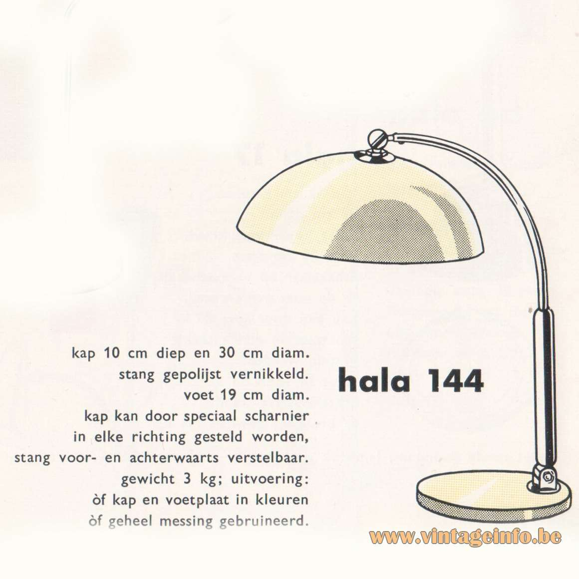 Hala 144 Desk Lamp - Catalogue 1959