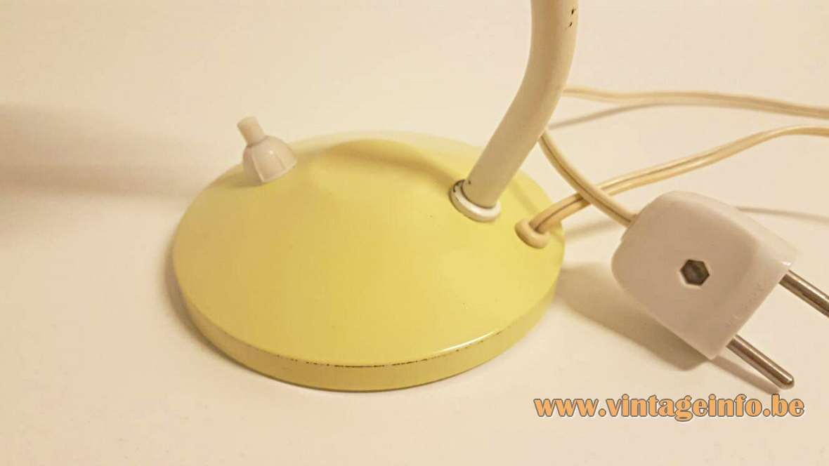 Hala Bartje Desk Lamp round base curved rod pale yellow 1950s 1960s bedside lamp MCM Netherlands