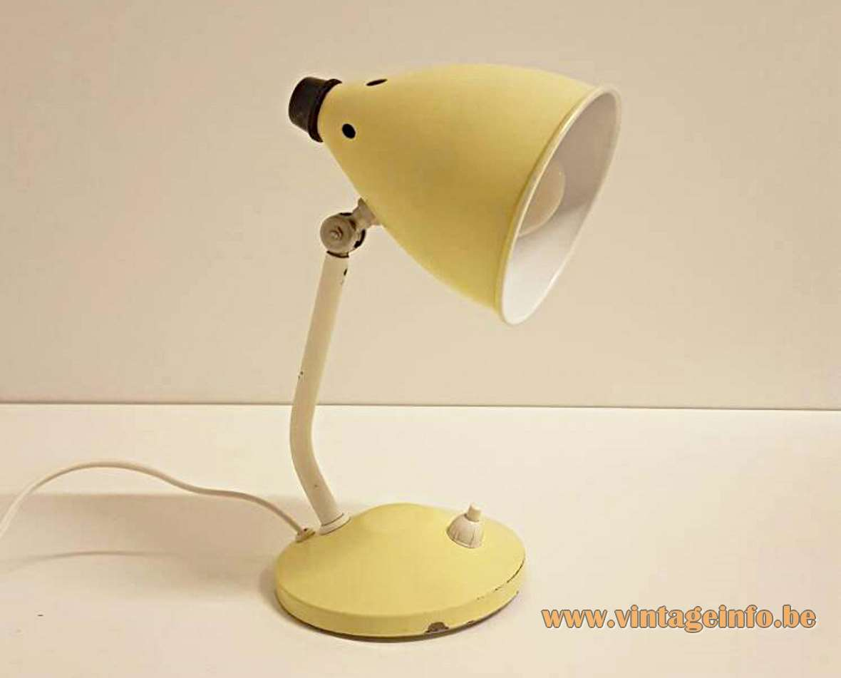 Hala Bartje desk lamp round pale yellow base curved rod conical lampshade 1950s 1960s Busquet design