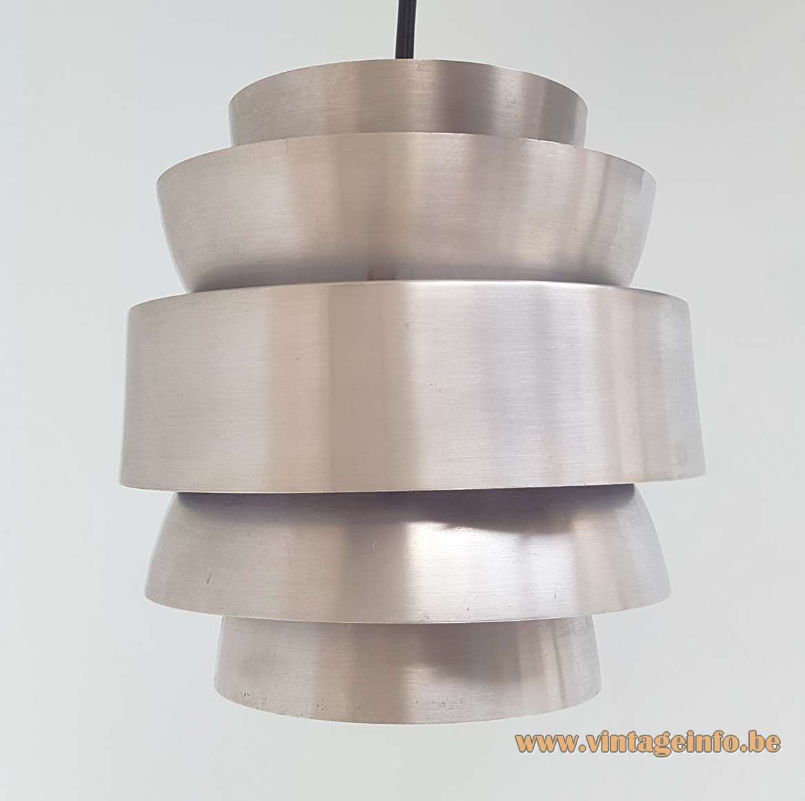 Lakro cascading pendant chandelier aluminium cylinders lamp in purple design: Carl Thore 1960s 1970s