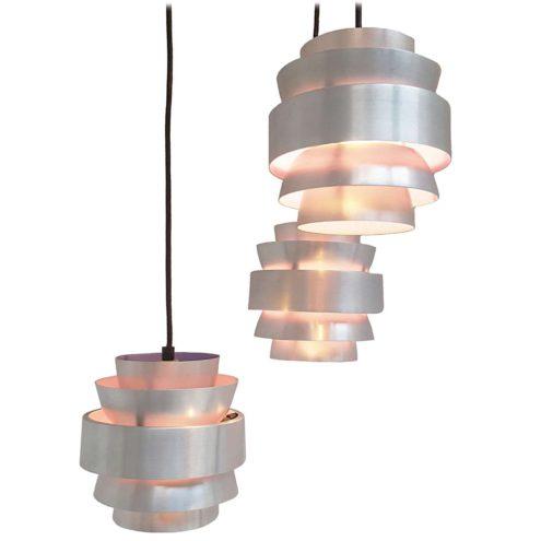 Lakro Cascading Pendant Chandelier aluminium cylinders purple design: after Carl Thore 1960s 1970s MCM