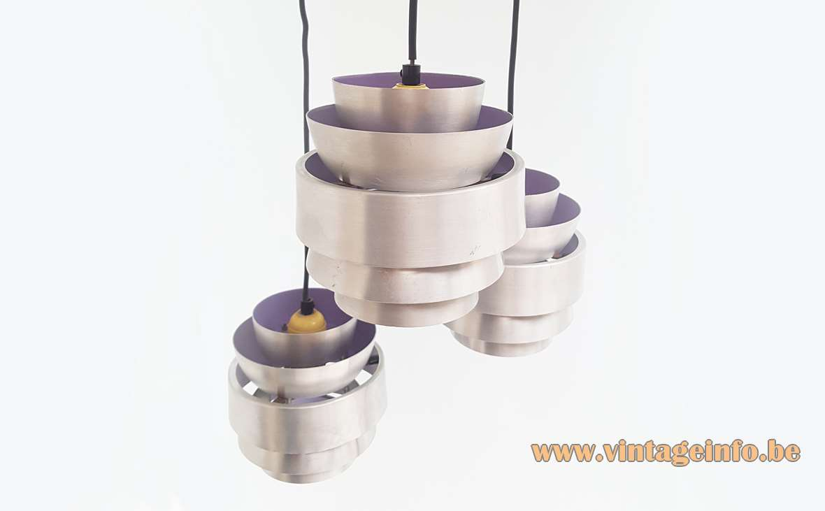 Lakro Cascading Pendant Chandelier aluminium cylinders purple design: after Carl Thore 1960s 1970s MCM