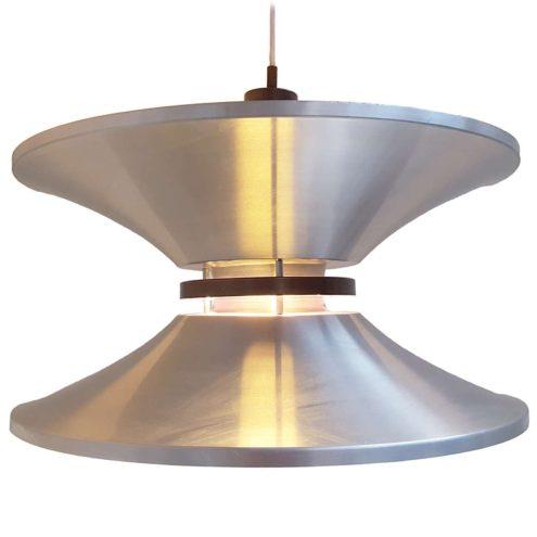 Lakro Yo-Yo pendant lamp aluminium conical purple discs lampshade design: Carl Thore 1960s 1970s E27 socket