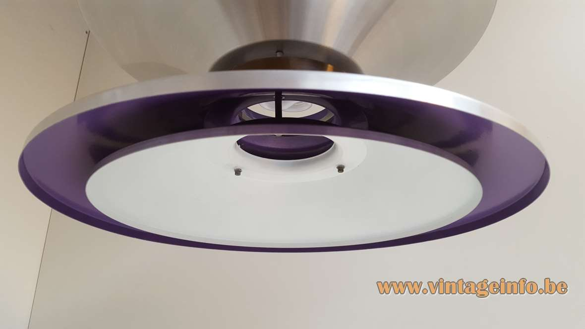 Lakro Yo-Yo Pendant Lamp aluminium parts purple paint design: after Carl Thore 1960s 1970s MCM