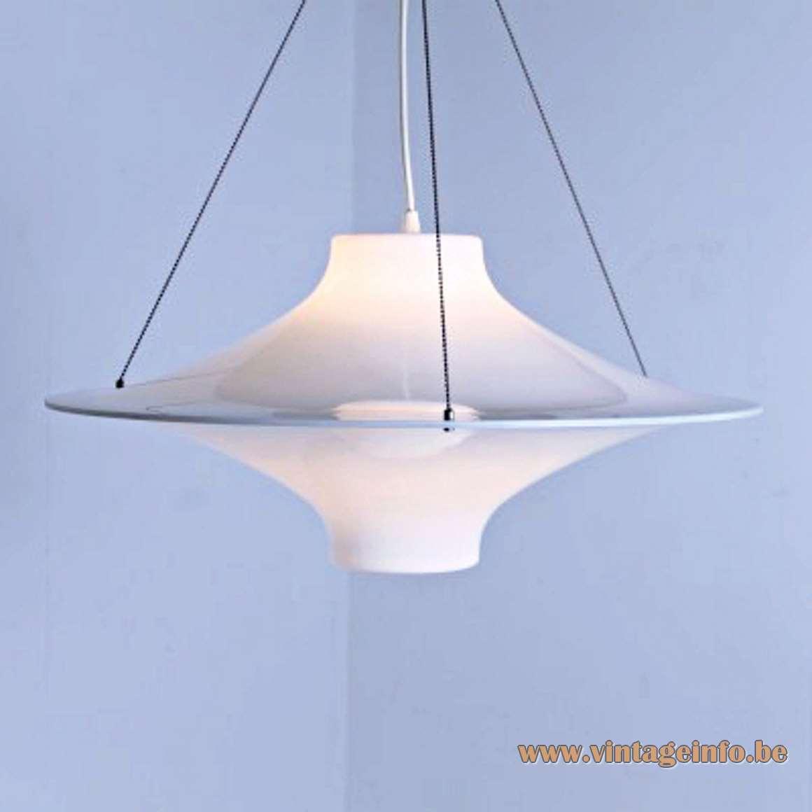 Lokki Pendant Lamp white acrylic UFO design: Yki Nummi produced: Sanka Oy Stockmann ORNO Finland MCM