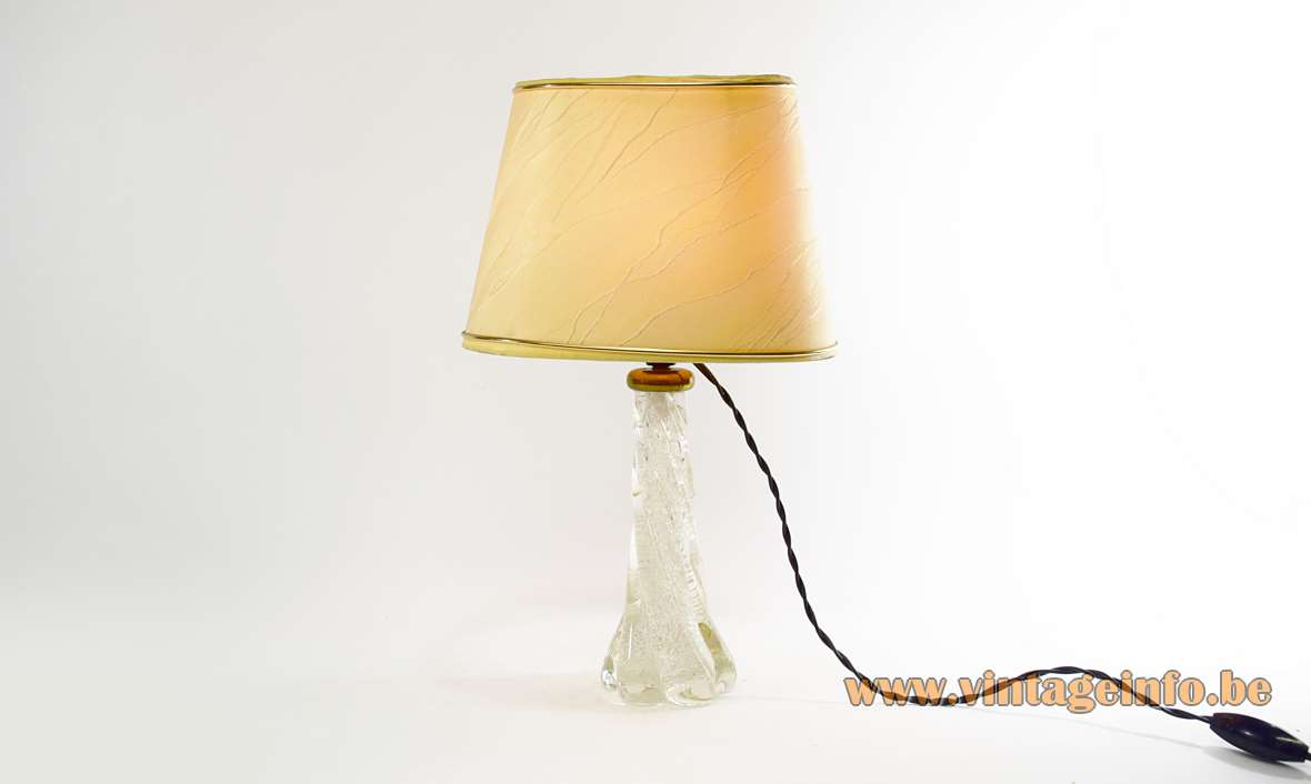 Twisted Murano clear bubble glass table lamp Barovier & Toso 1950s 1960s fabric lampshade MCM brass