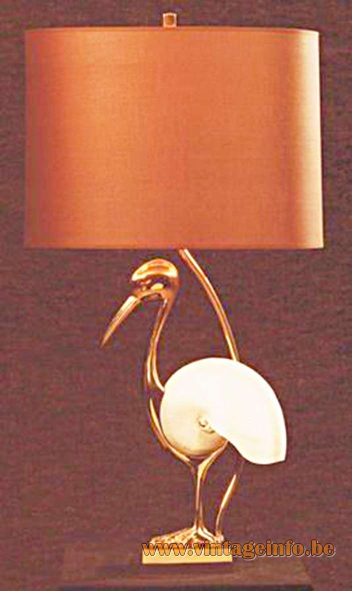 Nautilus table lamp made by Willy Daro representing a brass bird fabric lampshade 1970s MCM