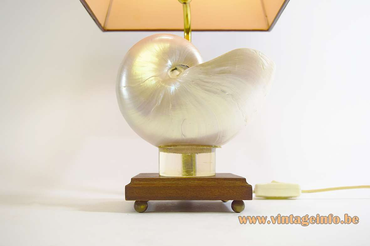 Nautilus table lamp square wood base squid shell curved brass rod brown pagoda lampshade 1970s