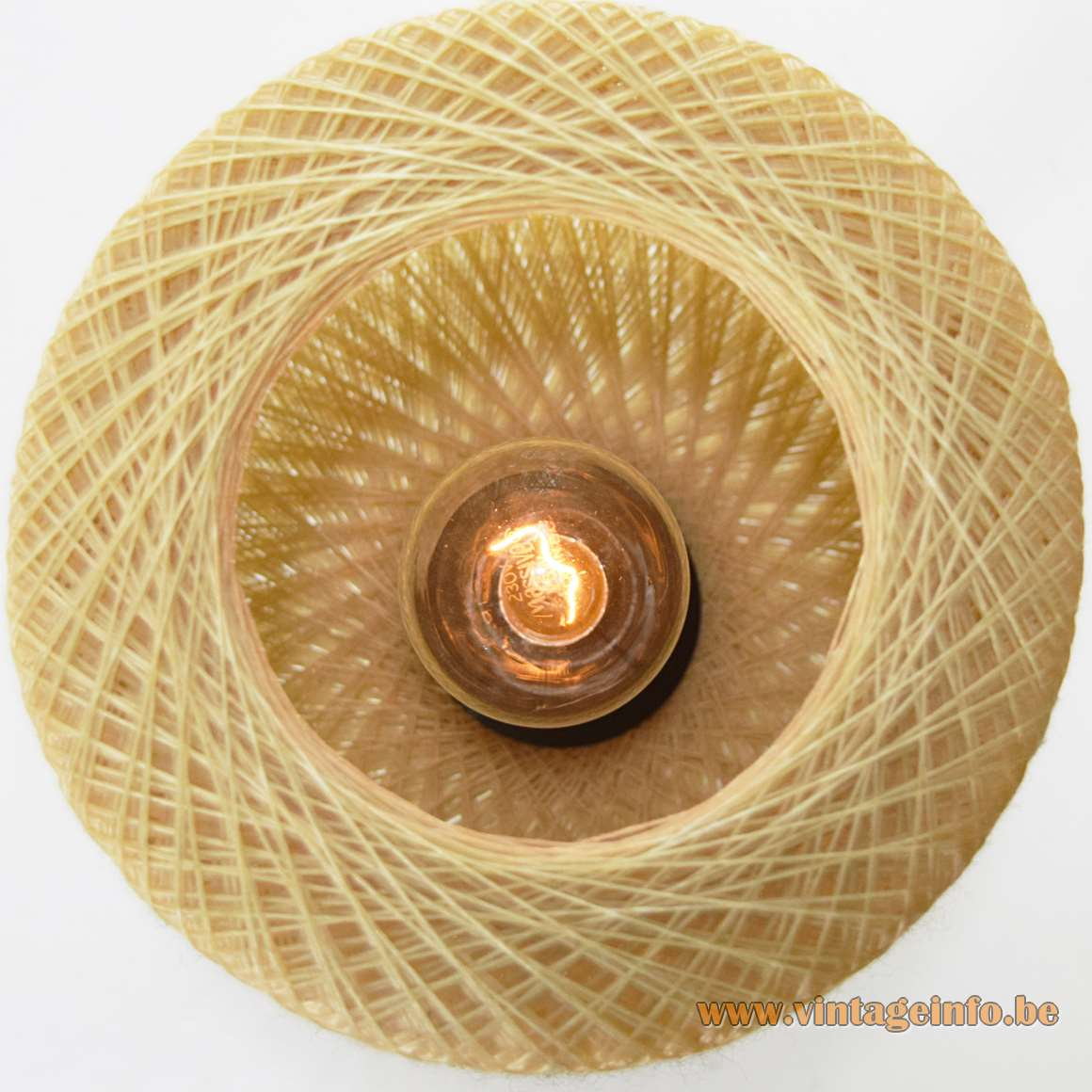 Nylon String Bedside Lamp round small light nylon fishing wire crochet 1950s 1960s Philips MCM E14