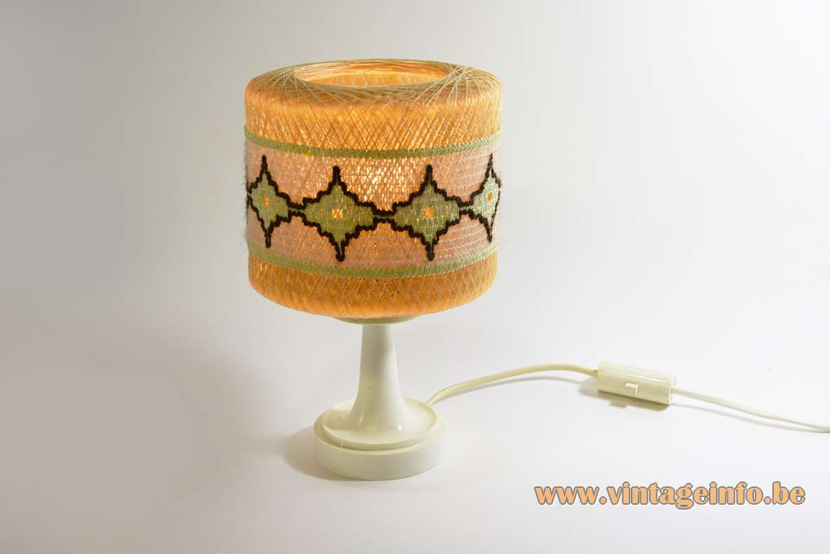 String table lamp nylon fishing wire crochet round small light 1950s 1960s Philips E14 socket MCM Mid-Century Modern