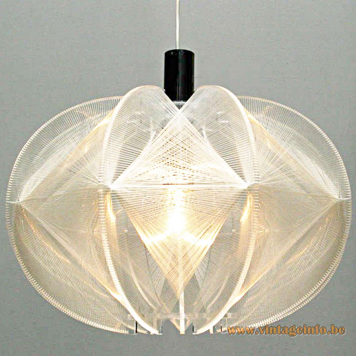Paul Secon nylon thread pendant lamp plastic wire 1970s Sompex Germany acrylic geometric plexiglass MCM