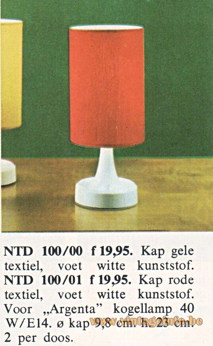 Philips NTD 100 plastic round table lamp in a catalogue from 1968