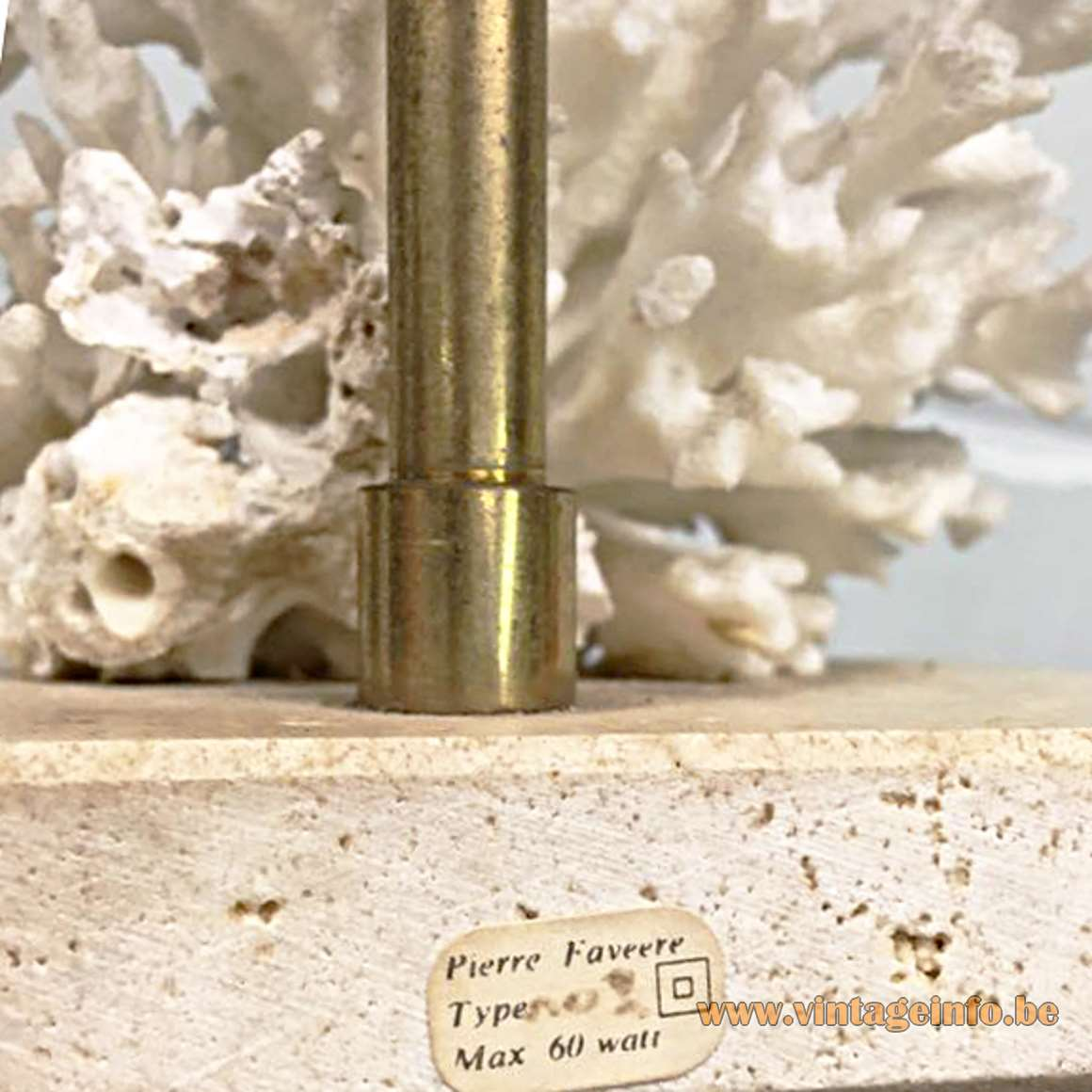 Pierre Faveere Agate Table Lamp - Coral lamp base and label