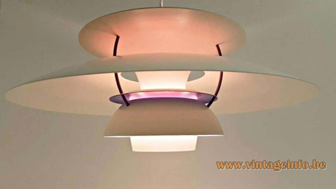 Poul Henningsen PH 5 Pendant Lamp designed: 1958 producer: Louis Poulsen metal lampshade 1960s 1970s MCM