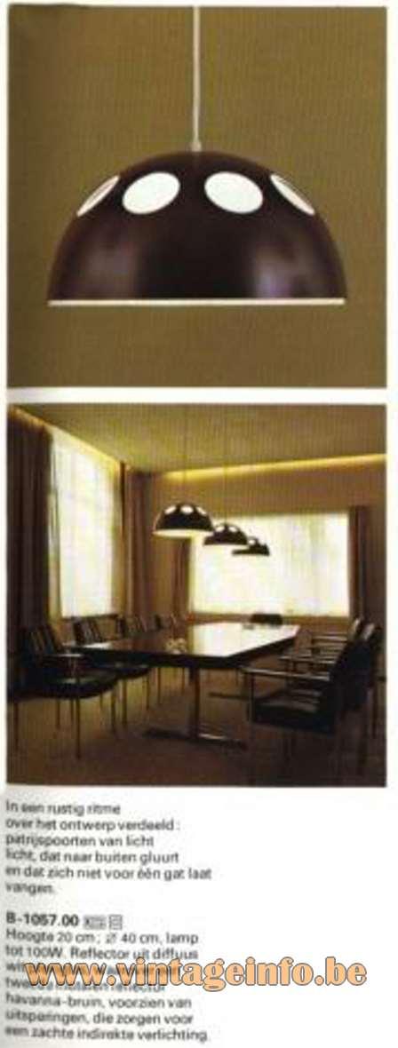 Raak Mushroom Pendant Lamp B-1057 El Duomo white acrylic round metal lampshade holes 1960s 1970s MCM