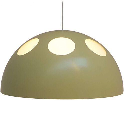 Raak pendant lamp model B-1057 El Duomo white acrylic round metal mushroom lampshade holes 1960s 1970s MCM Mid-Century Modern