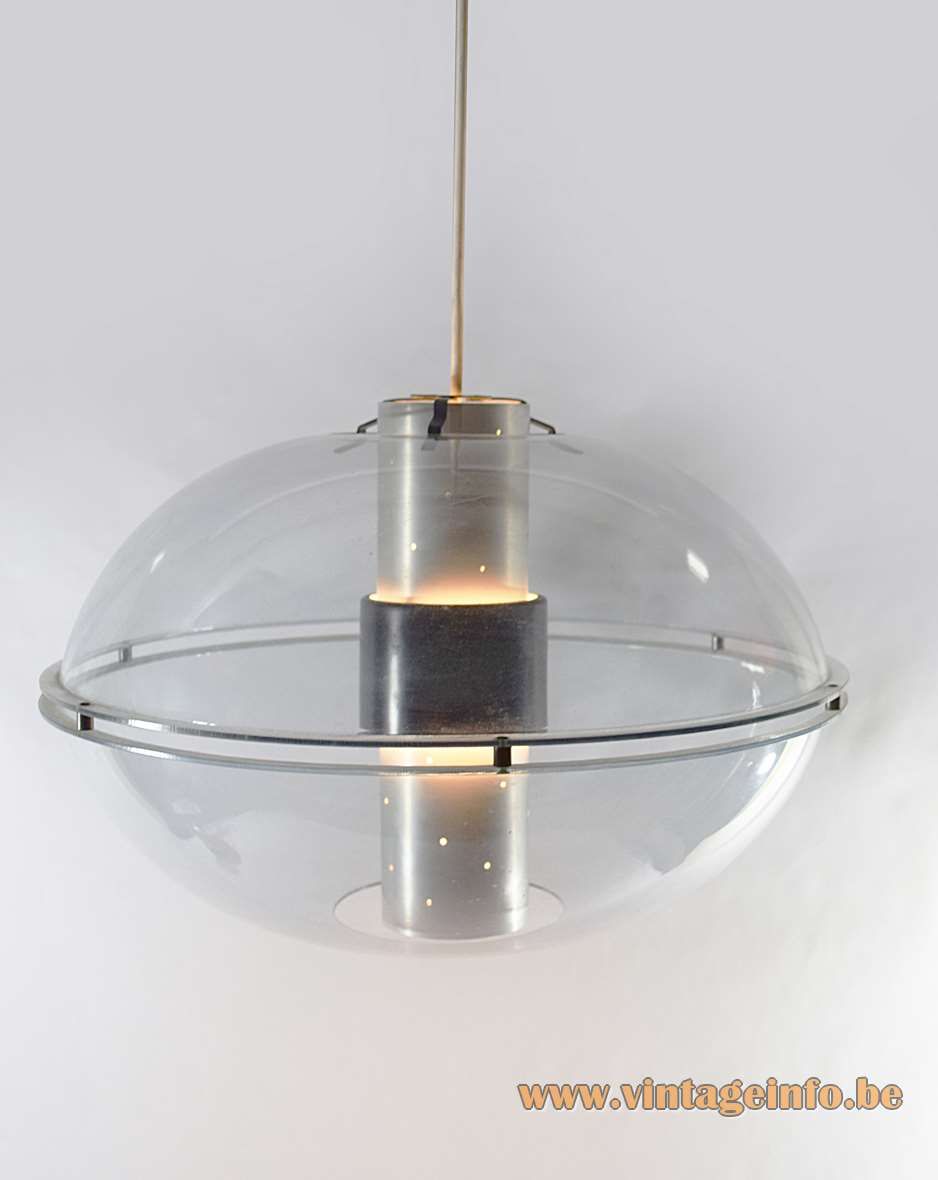 Raak Orbiter pendant lamp clear acrylic oval globe lampshade perforated aluminium tube diffuser 1950s 1960s 1970s