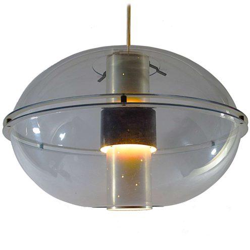 Raak Orbiter pendant lamp clear acrylic oval globe lampshade perforated aluminium tube diffuser 1950s 1960s 1970s