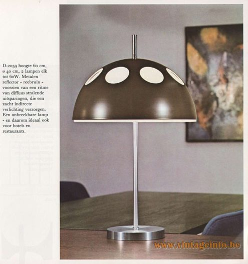 Raak Mushroom Table Lamp D-2059 El Duomo white acrylic round metal lampshade holes 1960s 1970s MCM