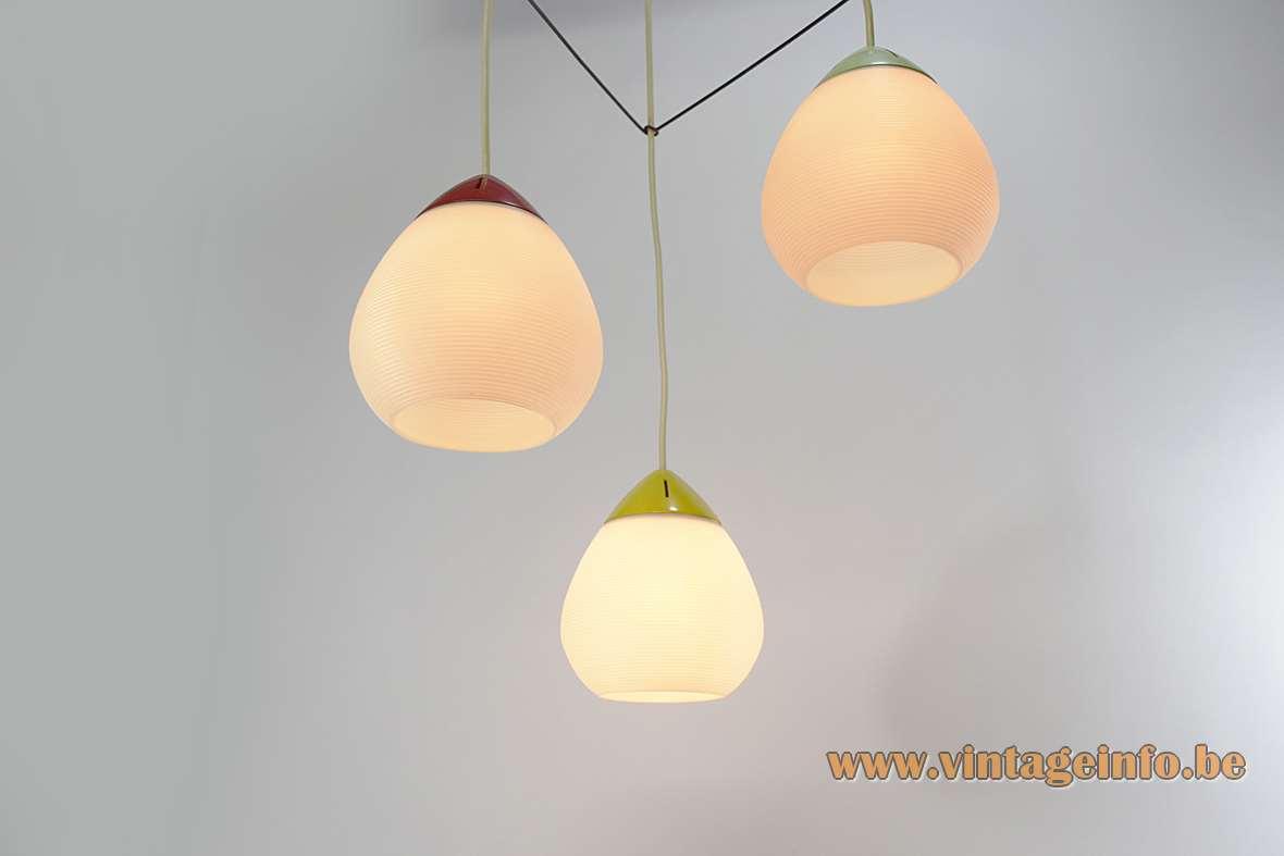 Rotaflex triple pendant lamp made of Rhodoïd cellulose acetate plastic E27 sockets 1950s 1960s
