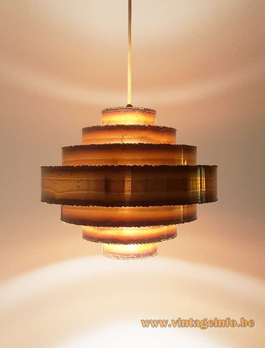 Holm Sørensen burned copper pendant lamp made of 7 rings brutalist 1960s 1970s MCM Mid-Century Modern E27 socket