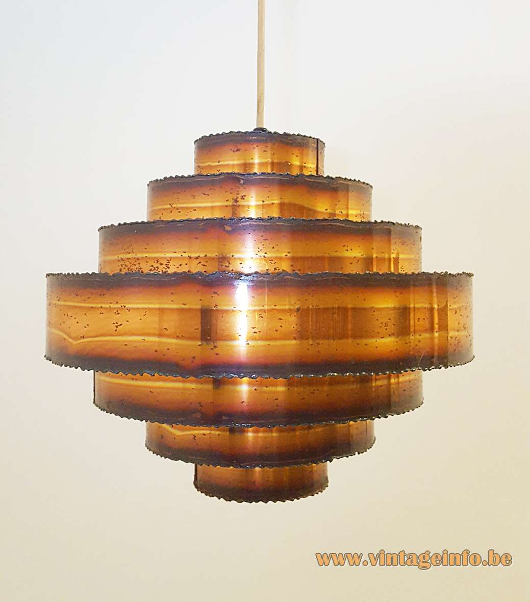 Svend Aage Holm Sørensen burned copper pendant lamp made of 7 rings brutalist 1960s 1970s MCM