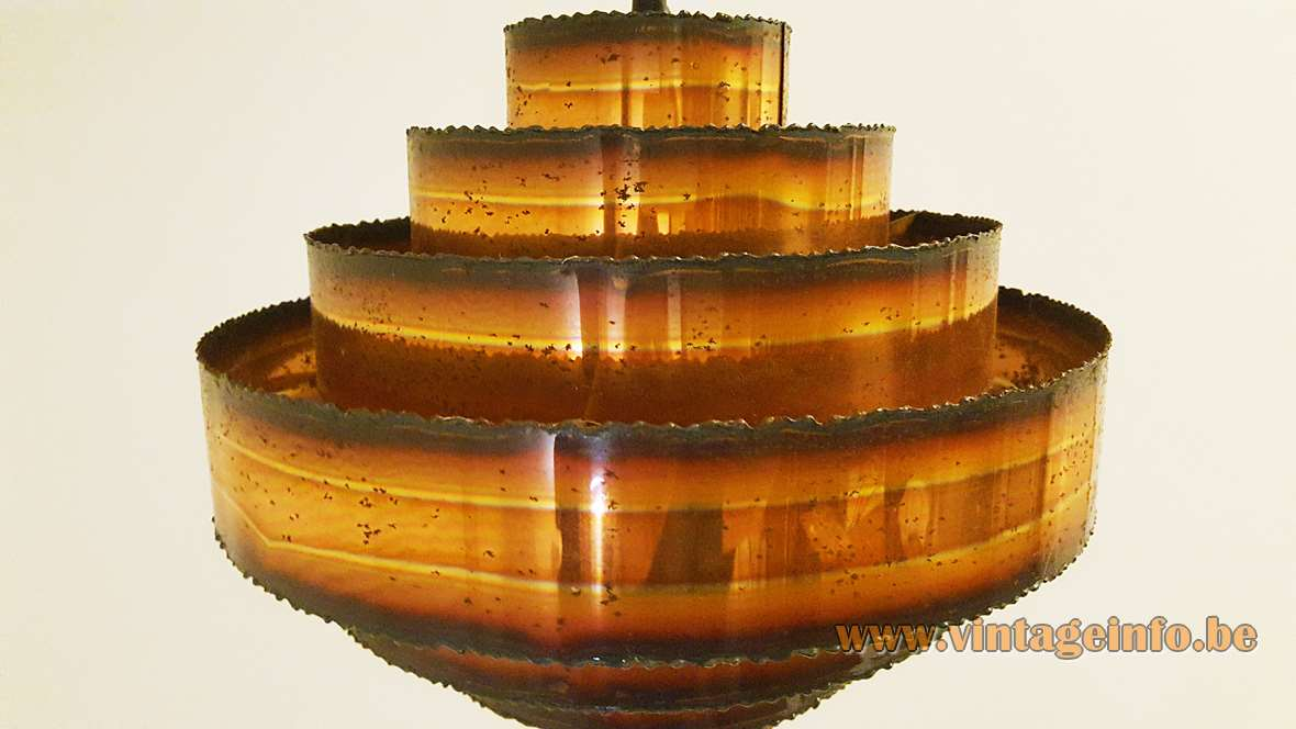 Copper pendant lamp made of 7 rings Svend Aage Holm Sørensen 1960s 1970s MCM Mid-Century Modern E27 socket