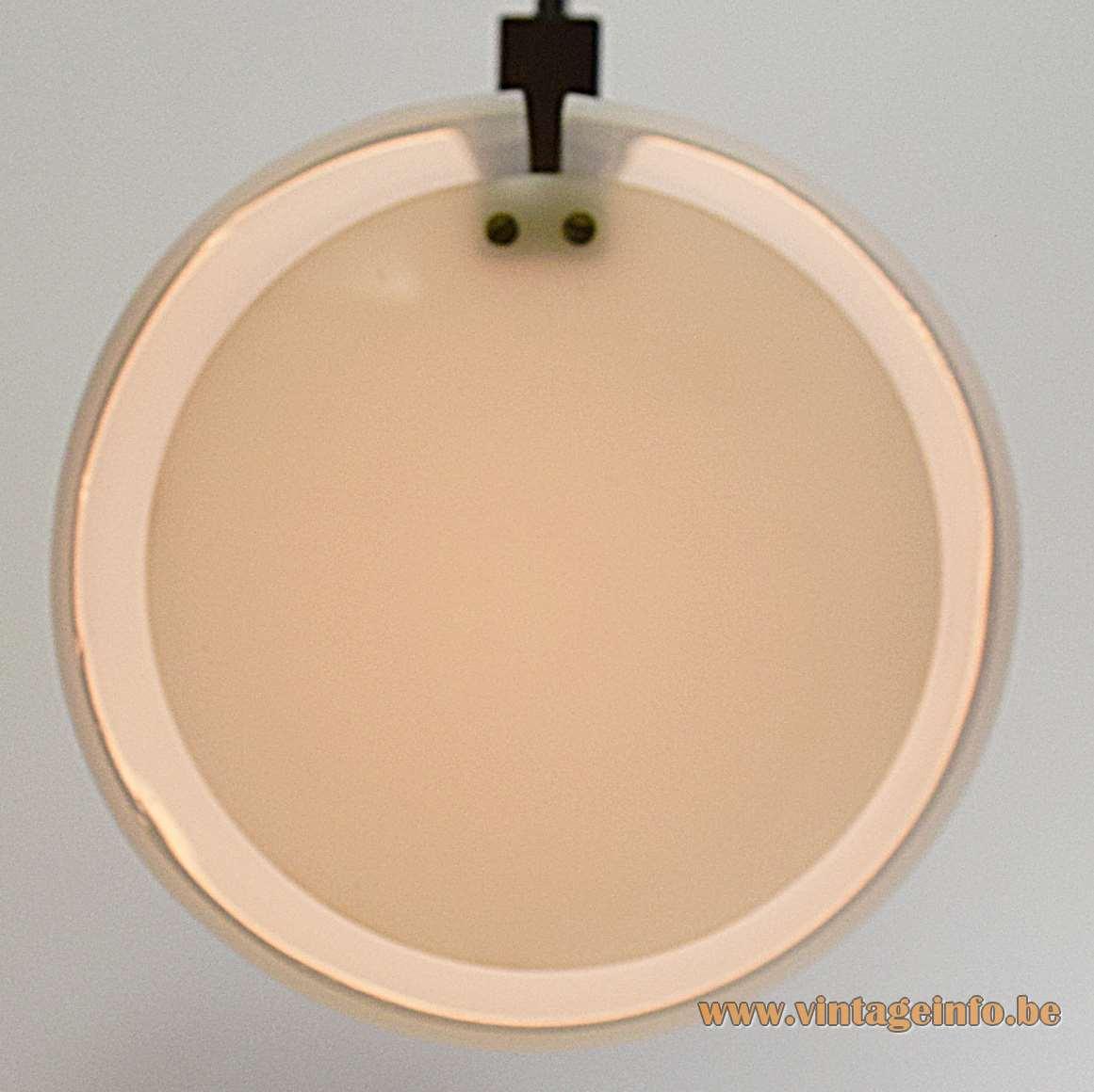 Yki Nummi Pendant Lamp white acrylic tubular light teak wood slat 1960s Sanka Oy Finland MCM