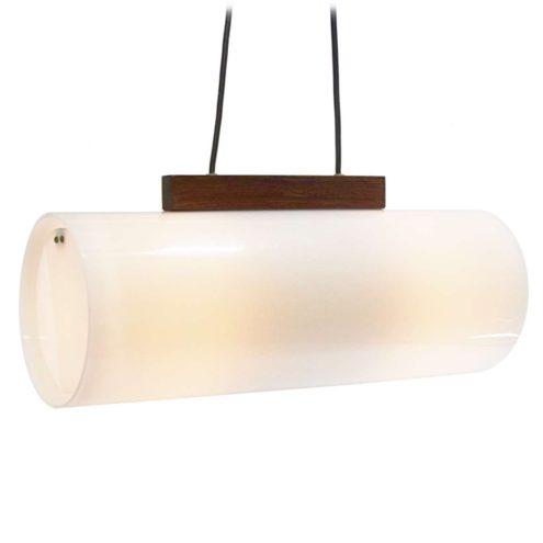 Yki Nummi pendant lamp white acrylic tubular lampshade teak wood bar 1960s Sanka Oy Finland
