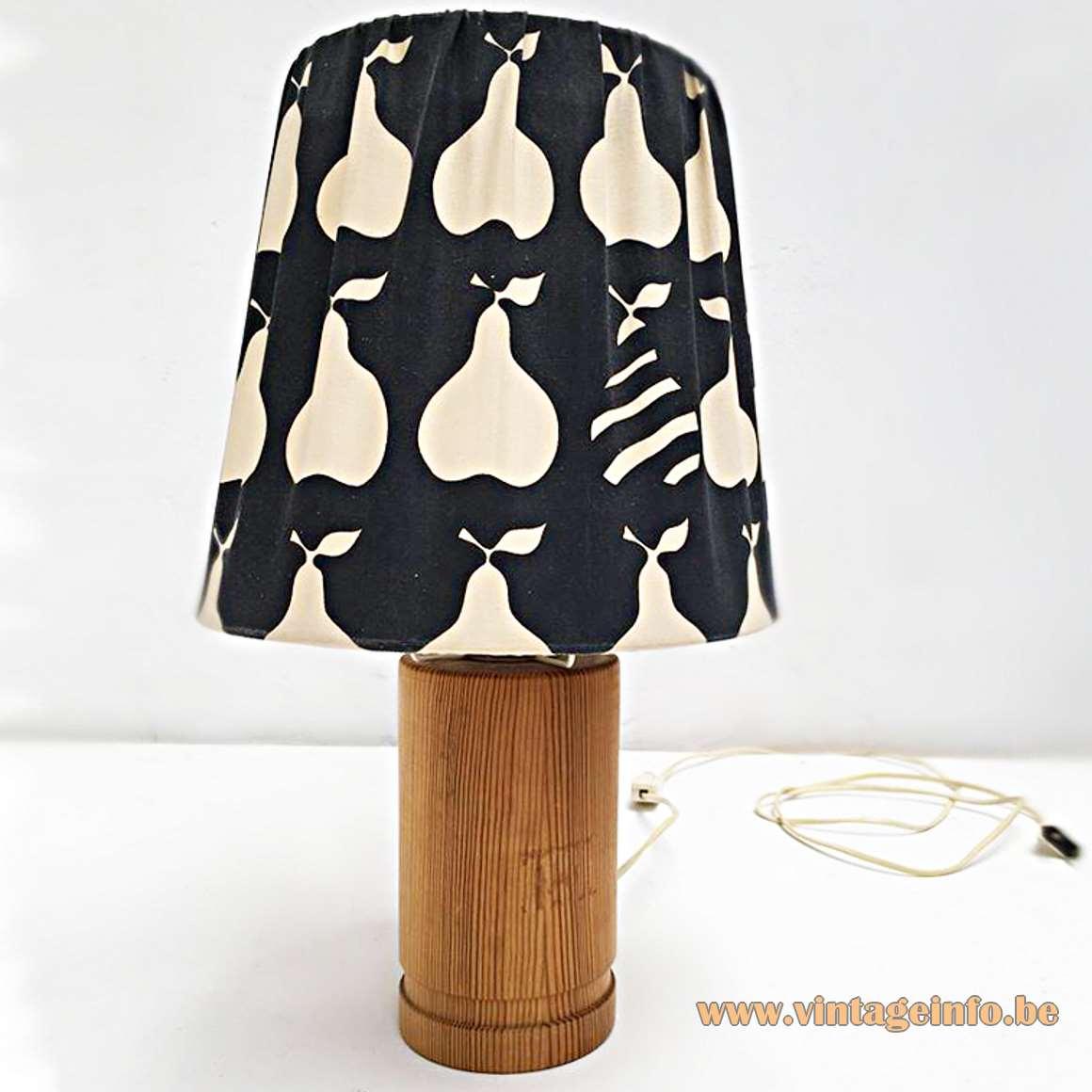 AB Ellysett Table Lamp Designer: Hans-Agne Jakobsson pine wood pop art pear lampshade 1960s MCM