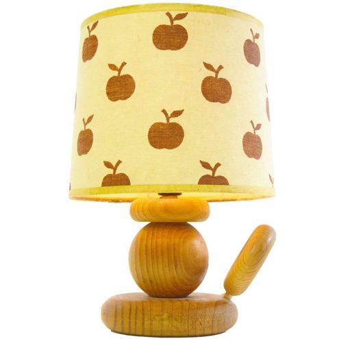 AB Ellysett table lamp design: Hans-Agne Jakobsson wood candlestick pop art apple lampshade 1960s MCM