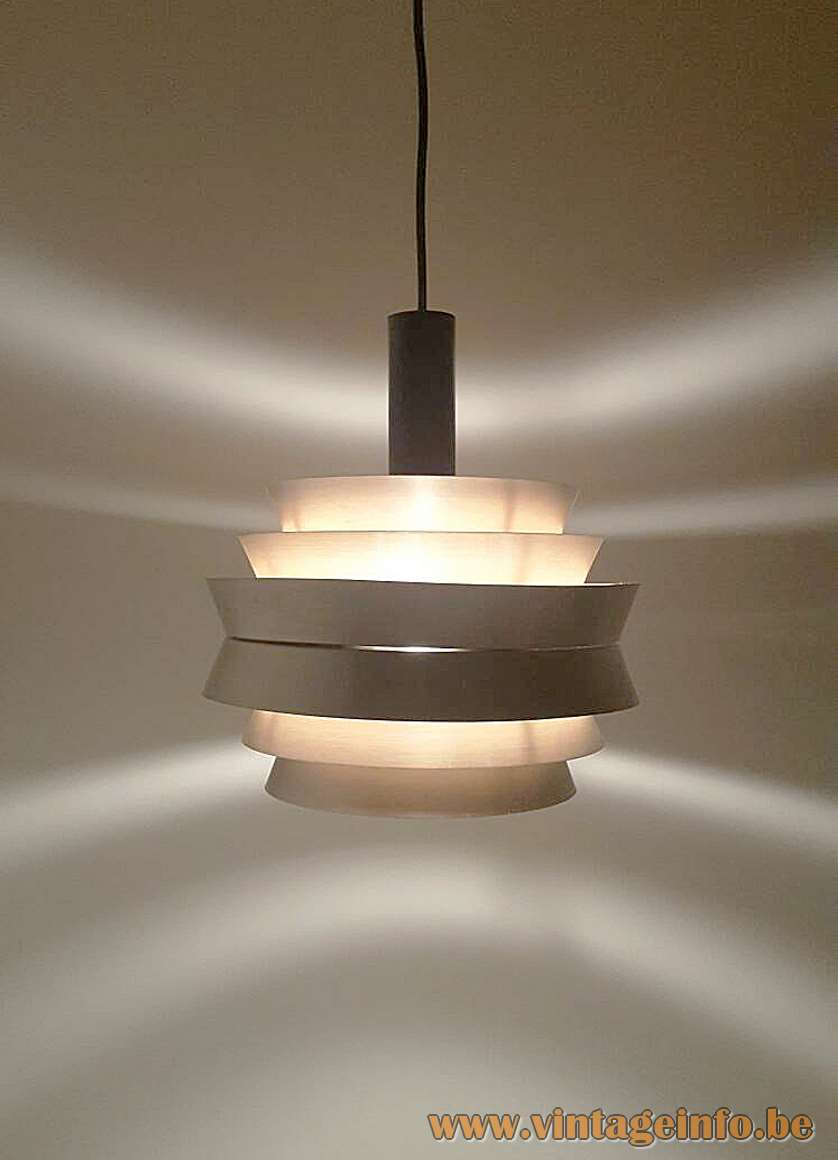 Carl Thore pendant lamp Trava round light made of 6 aluminium parts taupe painted 1960s MCM Mid-Century Modern