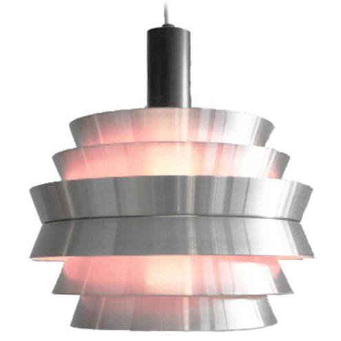 Carl Thore Trava pendant lamp round aluminium lampshade 6 parts taupe inside 1960s Granhaga Metallindustri Sweden