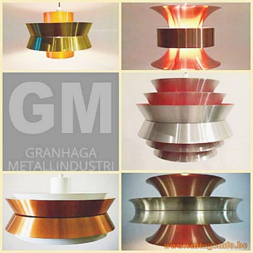 Carl Thore Trava Pendant Lamp round light made of 6 aluminium parts catalogue 1960s MCM