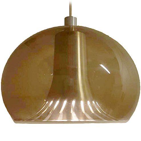 Dijkstra smoked acrylic pendant lamp brown Perspex globe lampshade perforated conical aluminium diffuser 1970s E27 socket