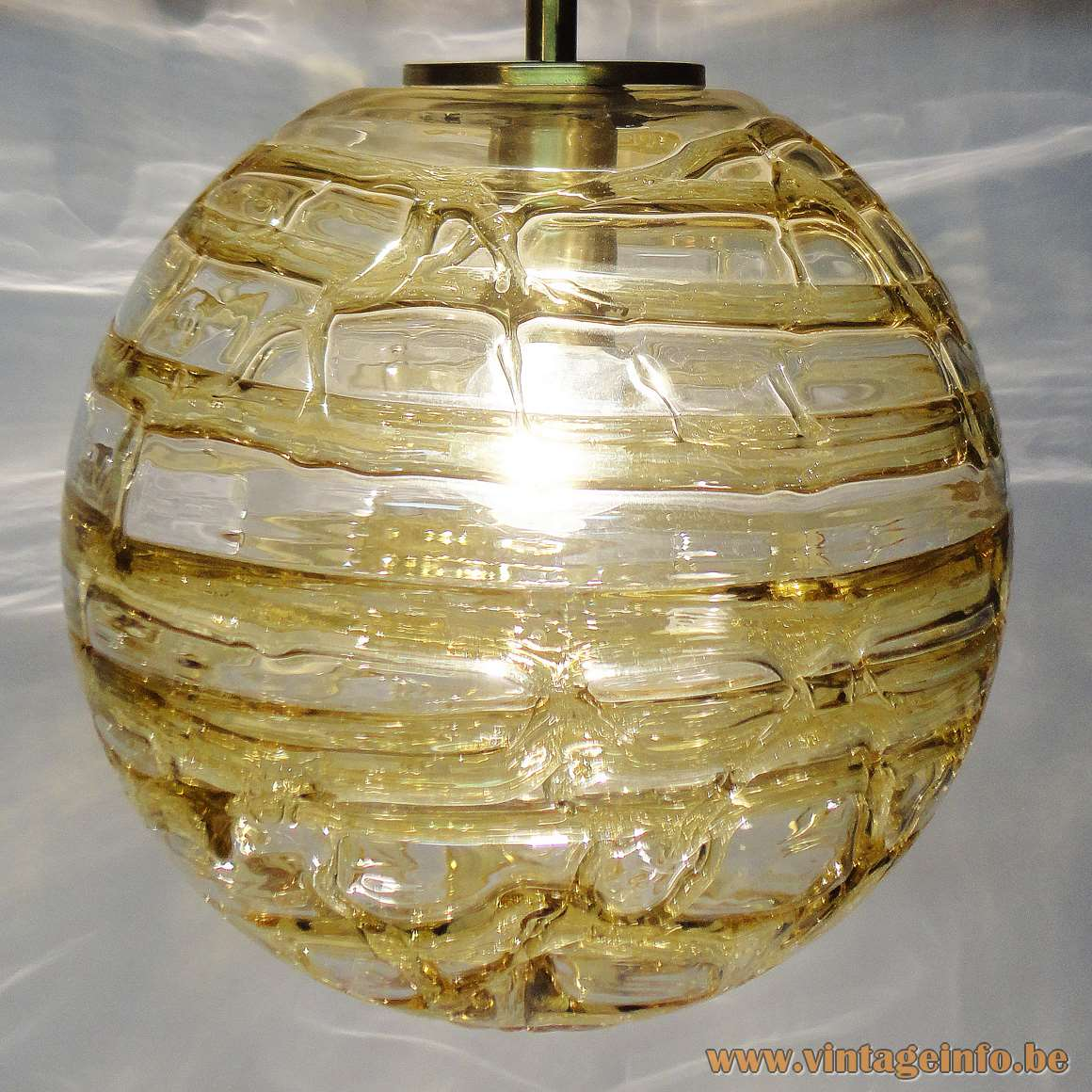 Doria clear and amber veined glass globe pendant lamp brass parts 1960s 1970s Germany MCM