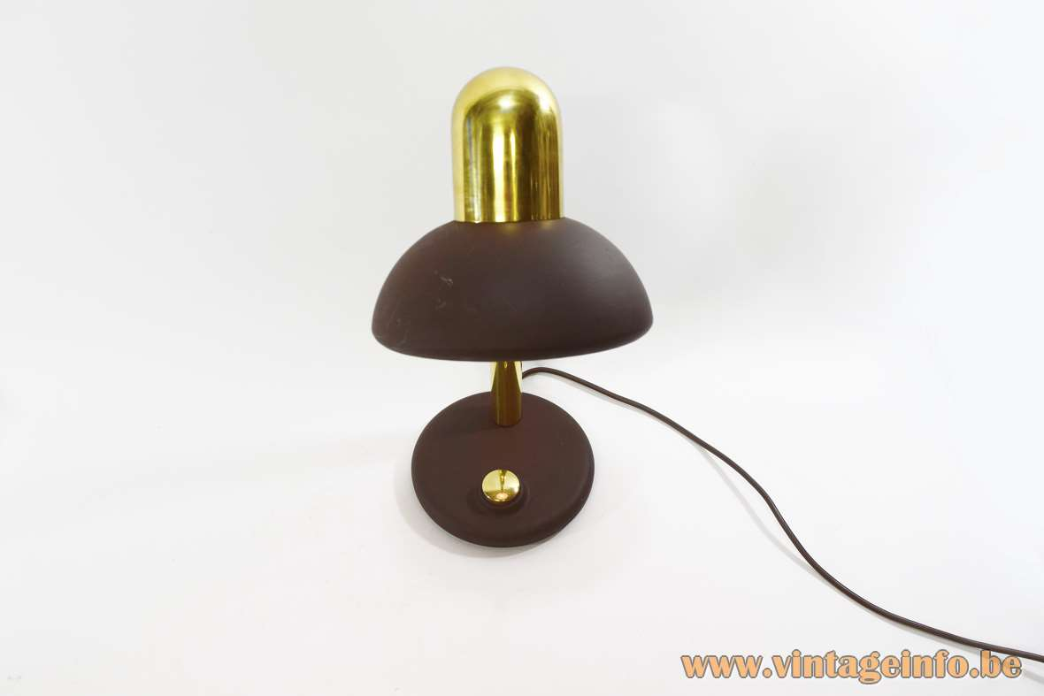 Hillebrand Gooseneck Desk Lamp brown round lampshade and base Brass rod and top 1970s MCM